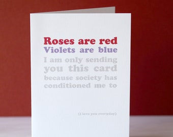 Anti Valentine's Day Poem Card - Funny Valentine's Card - funny valentine - anti-Valentine's card - card for girlfriend, or galentines