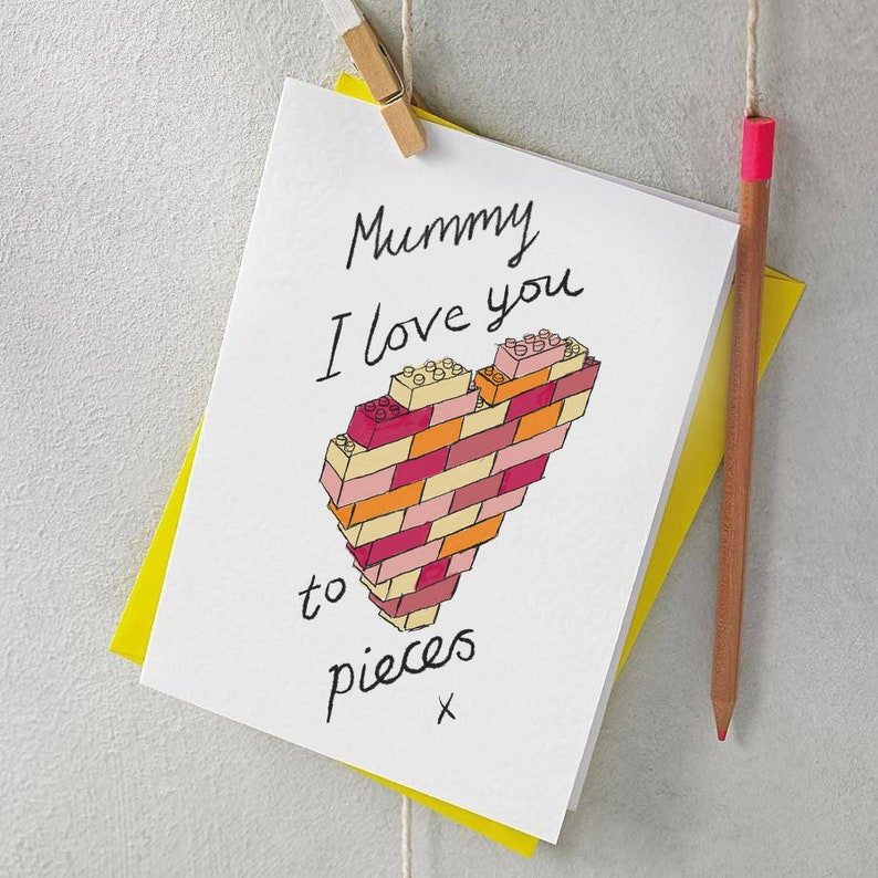 Witty Mummy I Love You To Pieces Lego Heart Card Etsy