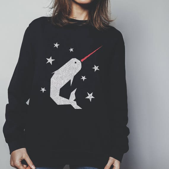 ca9c3c37206a Narwhal Christmas Jumper printed in sparkling silver glitter