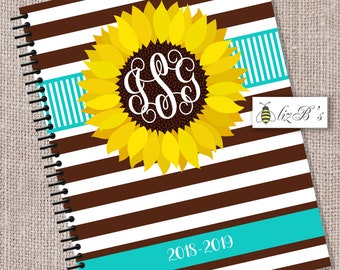 Sunflower Teal and Brown Teacher Planner// Turquoise Teacher Planner// Customized Teacher Planner// Lesson Planner// Personalized Cover