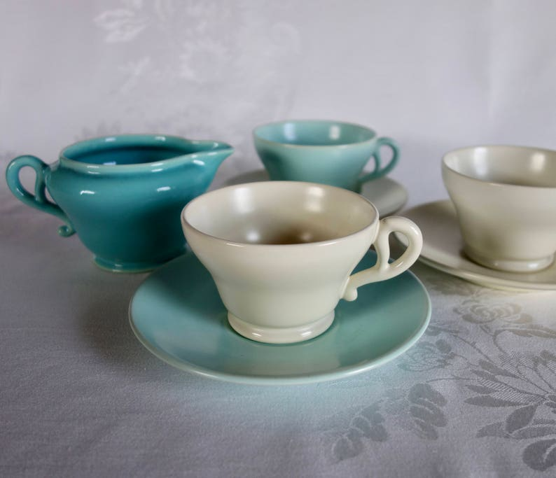 Franciscan Matte Turquoise El Patio Four Sets of Cups and Saucers