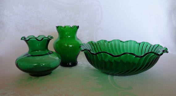Vintage Anchor Hocking Forest Green Two Small Vases And One Etsy