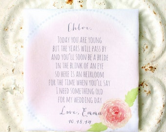 FLOWER GIRL wedding handkerchief . gift . today you are young . something old hankie . scalloped edge cotton wedding hanky . choice of color