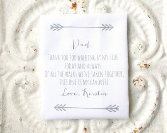 FATHER of the bride handkerchief . thank you for walking by my side . this walk is my favorite cotton wedding hankie . wedding handkerchief