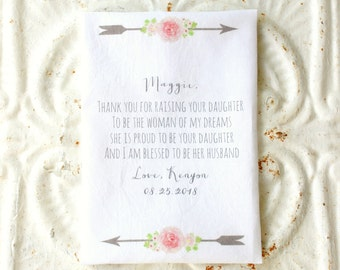 GROOM'S mother IN LAW / father in law handkerchief . thank you for raising the woman of my dreams printed hankie . cotton hanky