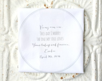 BRIDE to groom / GROOM to bride wedding handkerchief . this day I marry the one my soul loves hankie . wedding hanky . hankerchief . hankie