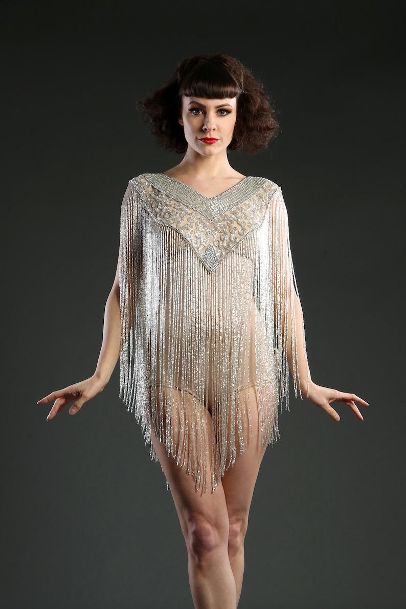 Shawls & Wraps   Fur Stole, Lace, Fringe 1920 Style Long Silver Embellished Beaded Great Gatsby Cape Fringe Top $163.47 AT vintagedancer.com