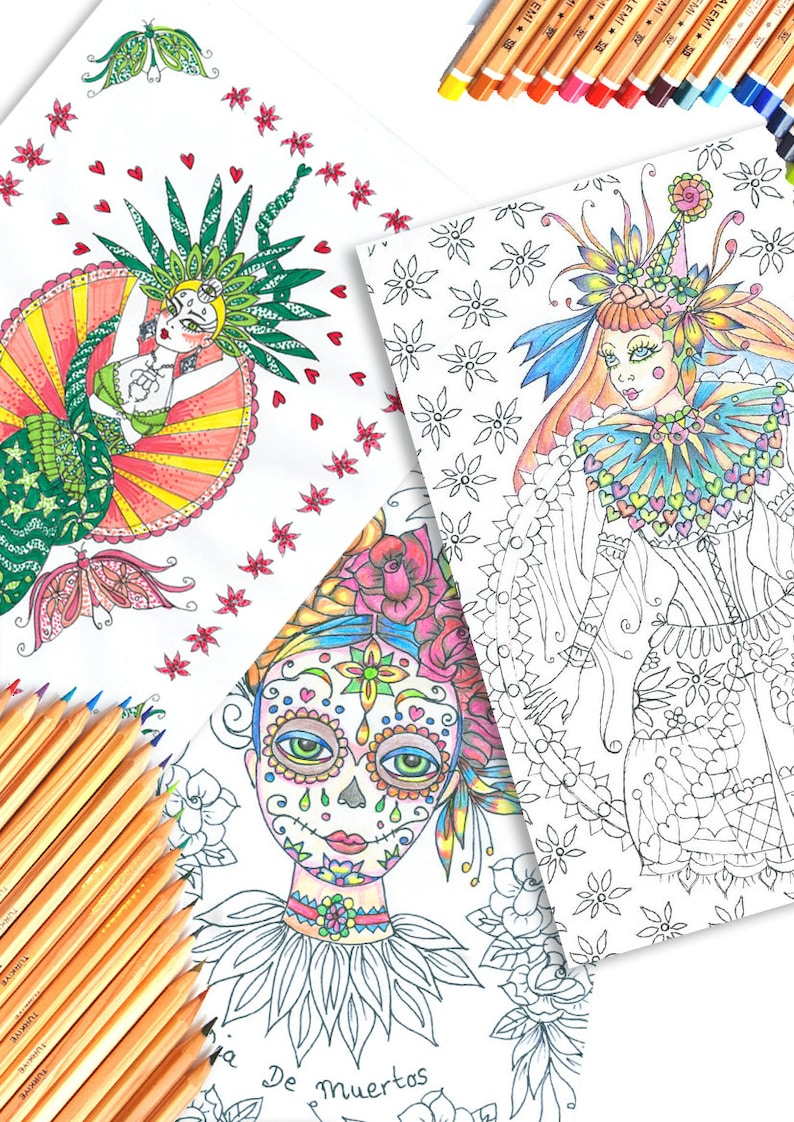 The Circus Girl Coloring Book  Hand illustrated colouring image 0