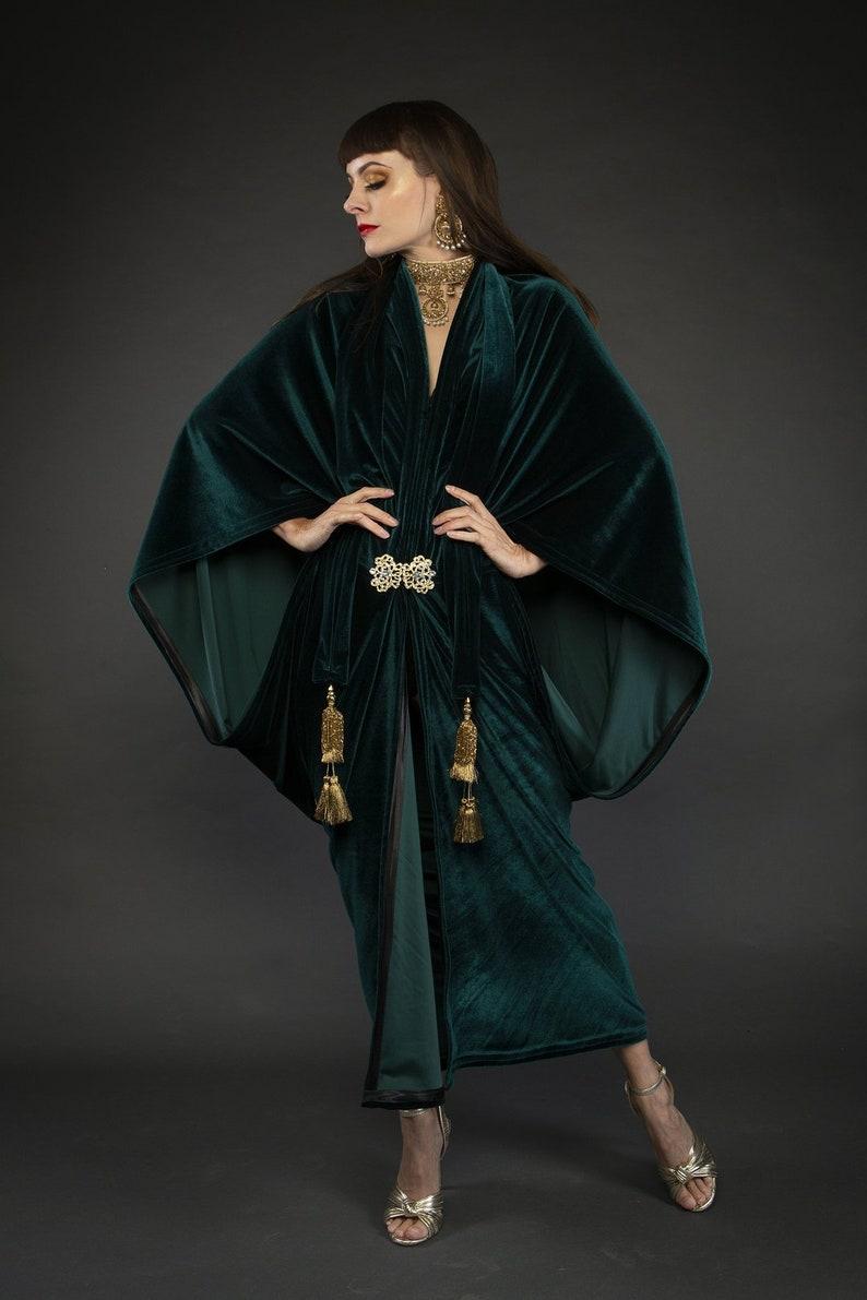 Vintage Coats & Jackets | Retro Coats and Jackets Forest Green Velvet Great Gatsby Dress - Floor length flapper Dress Cocoon coat $248.76 AT vintagedancer.com