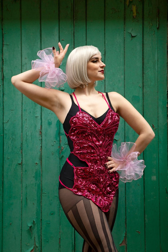 Silver Sequin Showgirl Leotard ~ Bellydance Circus Embellished Costume