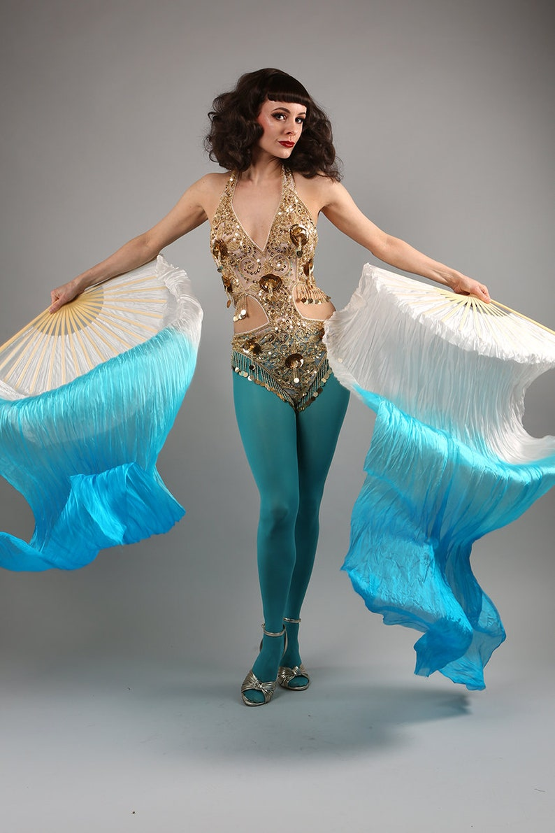 Veil Silk Fans ~ Dip dye blue /& white ~ for belly dance burlesque and circus Costume