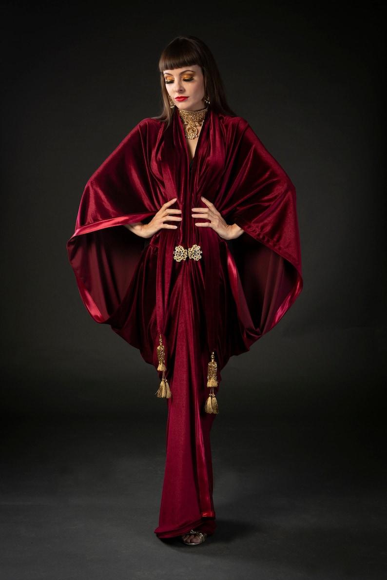 Vintage Coats & Jackets | Retro Coats and Jackets Red Wine 1920s Velvet Great Gatsby Dress - Floor length flapper Dress Cocoon coat $248.76 AT vintagedancer.com