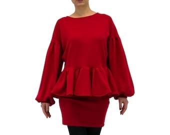 Evening dress/ Sweater dress/ Red mini dress/ Top and skirt set/ Long sleeve dress/ Red women suit/ Two piece set Peplum dress/  PM