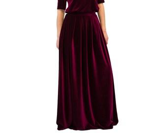 eb3a5b96cf5d4 VELVET maxi skirt  red maxi skirt  long skirt  women skirt  floor length  skirt  plus size skirt  high waist skirt  elegant evening dress