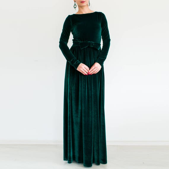 Velvet Green Dress Plus Size Dress Maxi Dress Long Sleeve Etsy