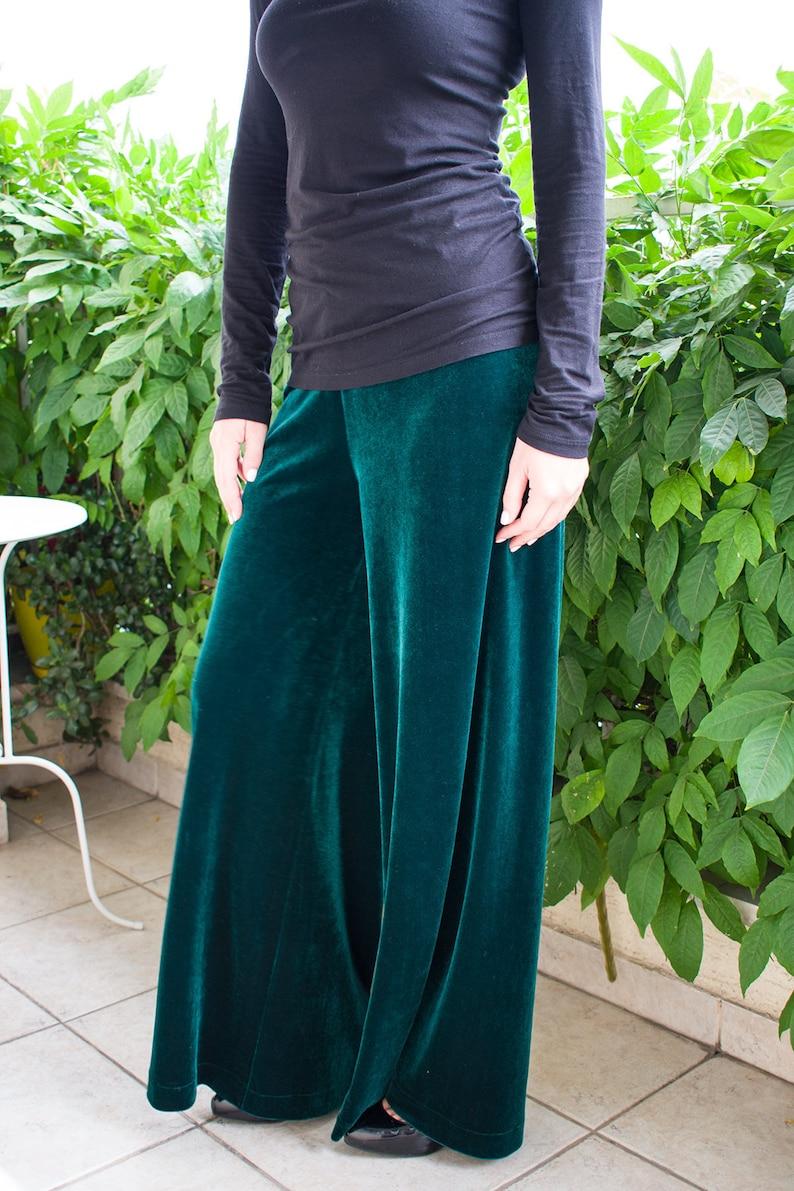 5c61ed3fb9c7 VELVET pants/ Palazzo pants/ Wide leg pants/ Emerald green trousers/ Loose  pants/ Wide leg trousers/ Palazzo trousers/ wide leg pants set