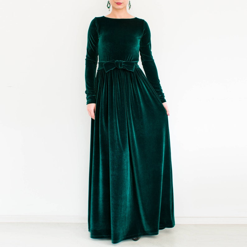 45f88b9fab3a6 Green velvet maxi dress plus size modest dress Long sleeve