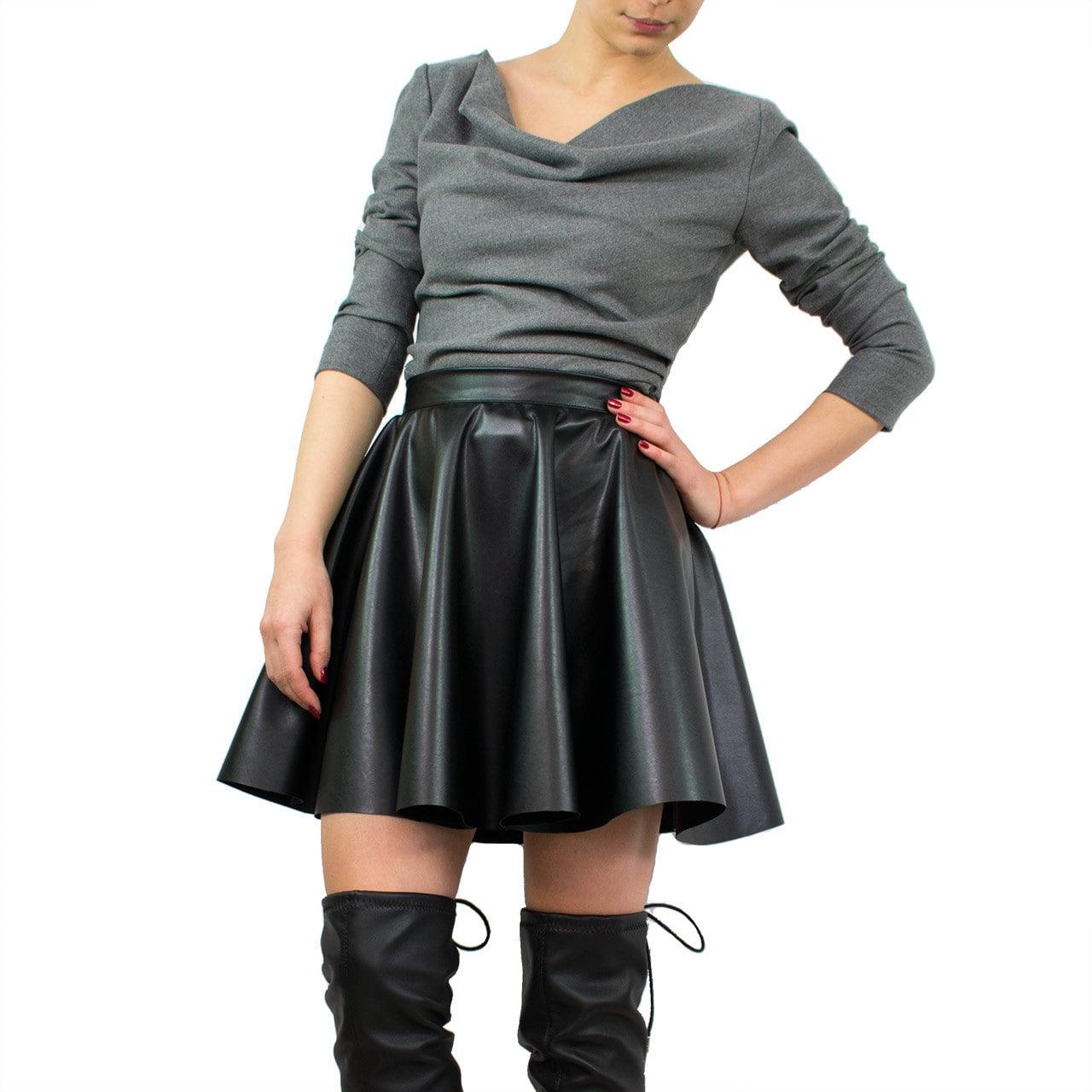 Leather mini skirt/ Short circle skirt/ Black leather skirt/