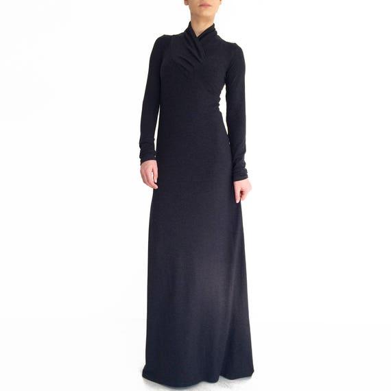 Black Maxi Dress Long Sleeve Dress Minimalistic Maxi Dress Etsy