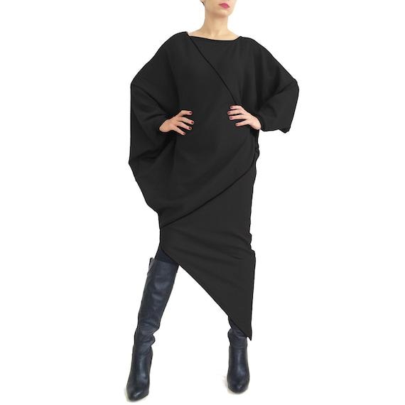 Black sweater dress, black maxi dress, plus size dress, women black dress,  fall fashion, tunic dress, oversized, long sleeved dress RALICA