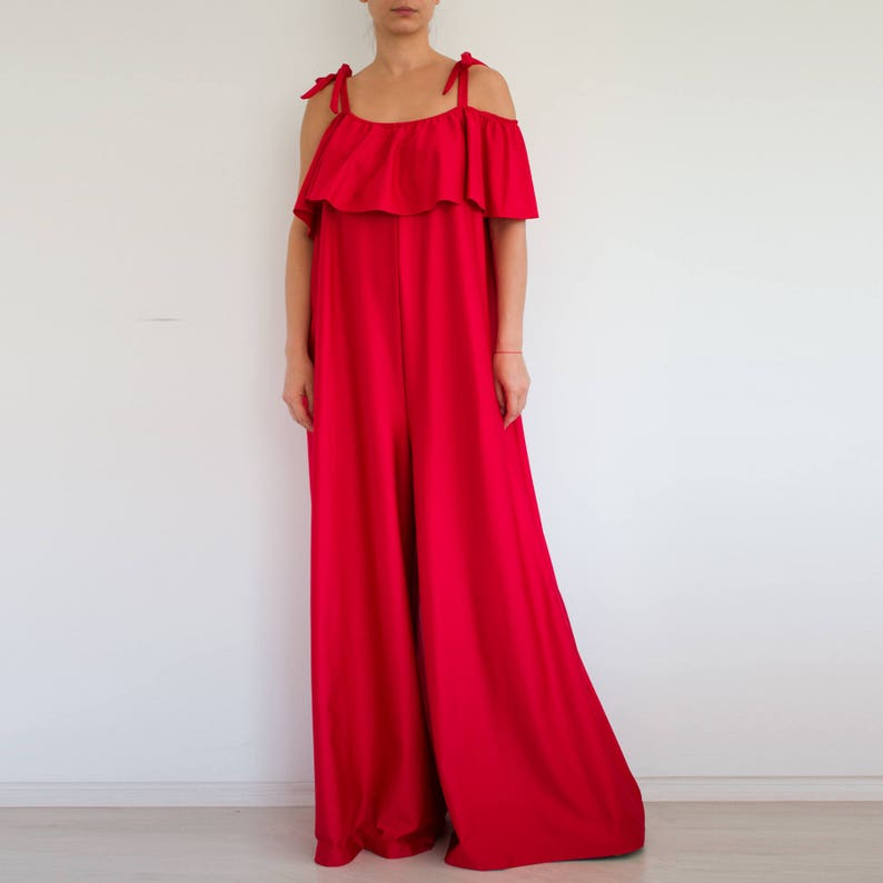8f5d68a113aa Wide leg jumpsuit  Red jumpsuit  evening jumpsuit  Loose