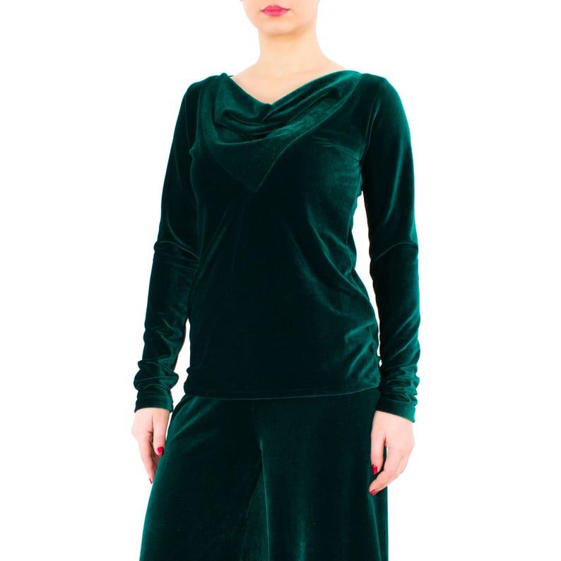 b8630b26c90cde VELVET top/ Long sleeve top/ Green velvet blouse/ Women velvet | Etsy