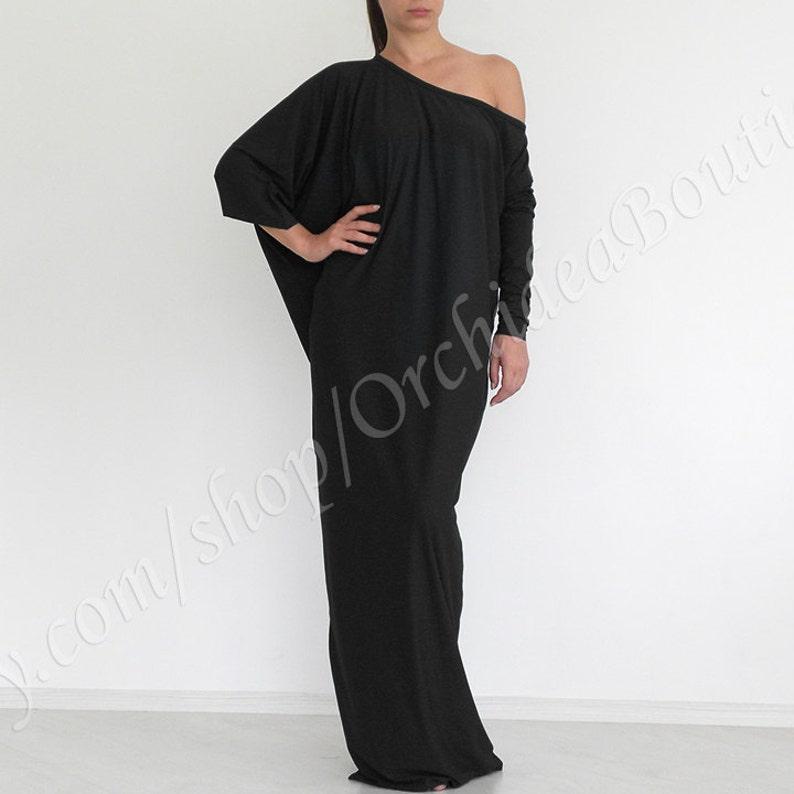 Black Maxi Dress Plus Size Kaftan Plus Size Dress Long Etsy