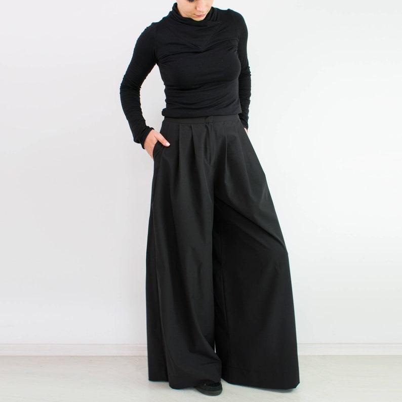 4d8736a11f9 Black loose pants  Palazzo pants  Wide leg pants  Plus size