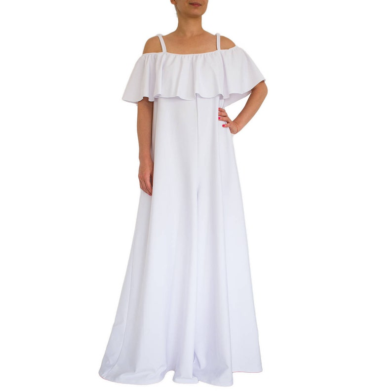 067d6784b426 White jumpsuit  Wide leg jumpsuit  off shoulder Loose