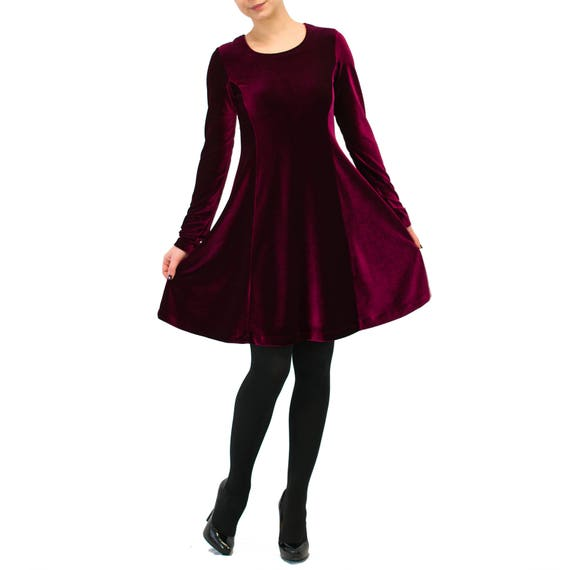 226ebeee30b3 Burgundy red velvet dress  Evening sexy dress  long sleeve