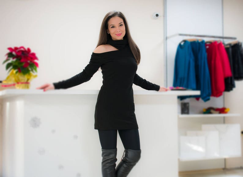 Black sweater dress/ turtleneck dress/ winter sweater dress/ Long sleeve  dress/ Fall dress/ Plus size sweater/ Knit black dress/ Women dress