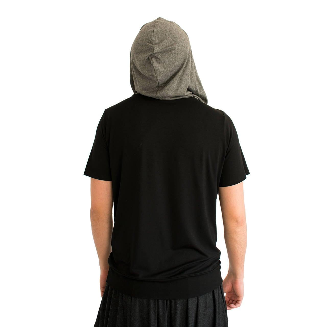grau mit kapuze oben kapuzen t shirt herren t shirt. Black Bedroom Furniture Sets. Home Design Ideas