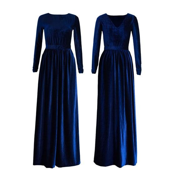 VELVET blue dress with v neck and long sleeves, plus size maxi dress, Long  sleeve dress, formal maxi dress, Long blue modest dress