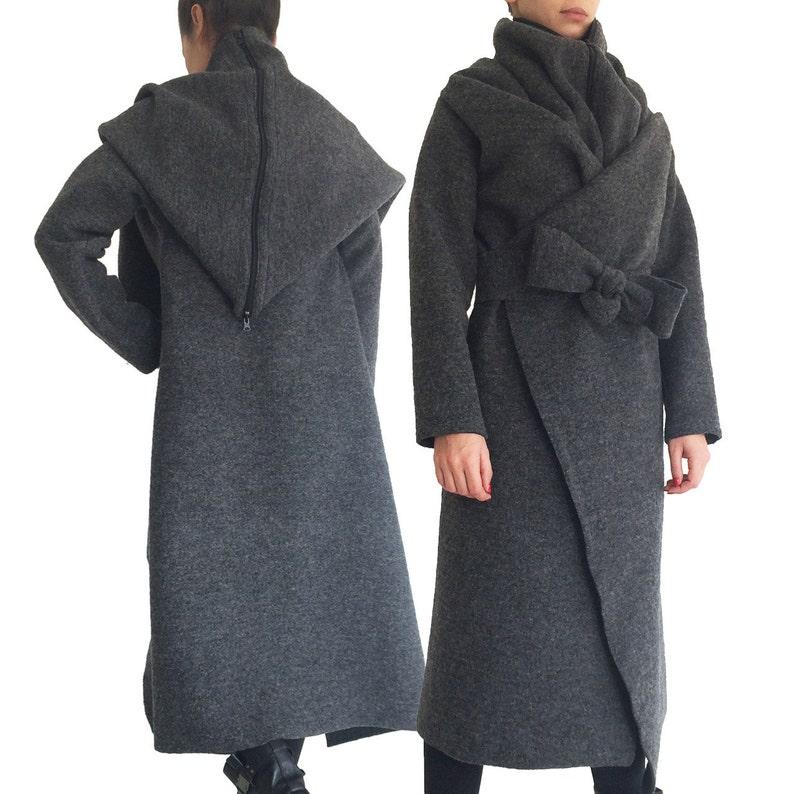 6e853cd65ce0c Gray wool coat  hooded coat  Oversize coat  Plus size coat  Wool coat  jacket  Hooded coat  Wool midi coat  Wool cardigan coat  cashmere coat