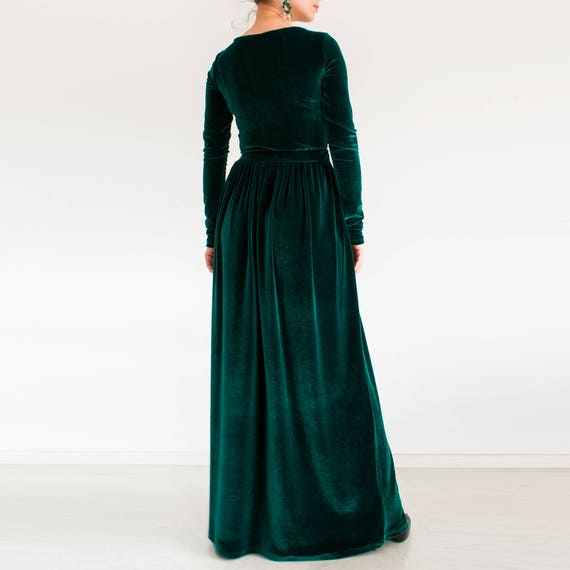 Green velvet maxi dress, plus size modest dress, Long sleeve dress/ formal  maxi dress/ Long green dress FAIRY