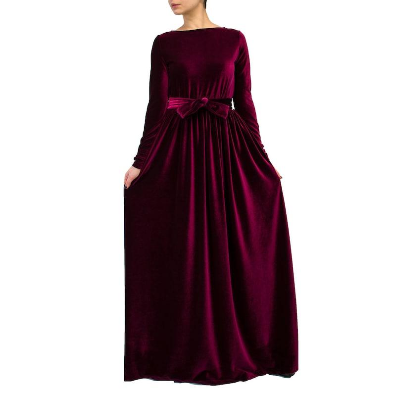 reputable site 46225 b7b93 Rosso-vestito lungo con maniche abito di velluto rosso / maxi abito / maxi  abito formale a manica lunga vestito / moda autunno / rosso abito più ...