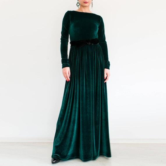 Repliken überlegene Materialien beliebt kaufen Rot Maxi-Kleid mit Ärmeln / Samtkleid rot / Maxi Kleid / Langarm Kleid /  formale Maxi Kleid / Herbst Mode / rot Kleid plus Größe bescheiden