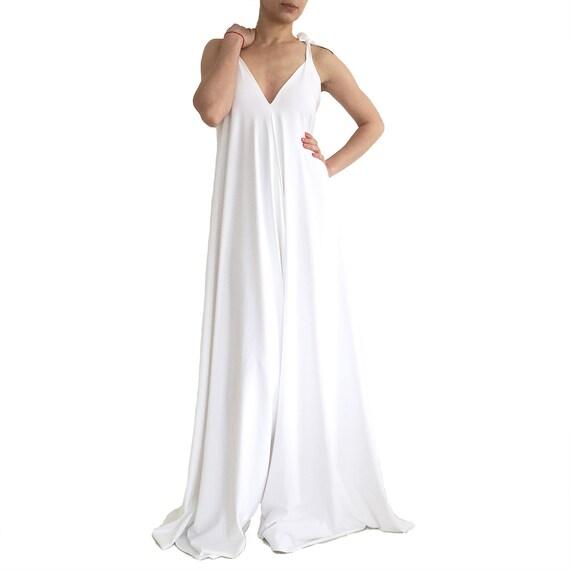 White Jumpsuit Wide Leg Jumpsuit Loose Jumpsuit Wedding Etsy