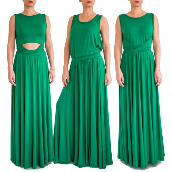 Multiway maxi dress/ Plus size dress/ Emerald maxi dress/ Green maxi dress/  Convertible dress/ Long jersey dress/ women maxi dress GYPSY