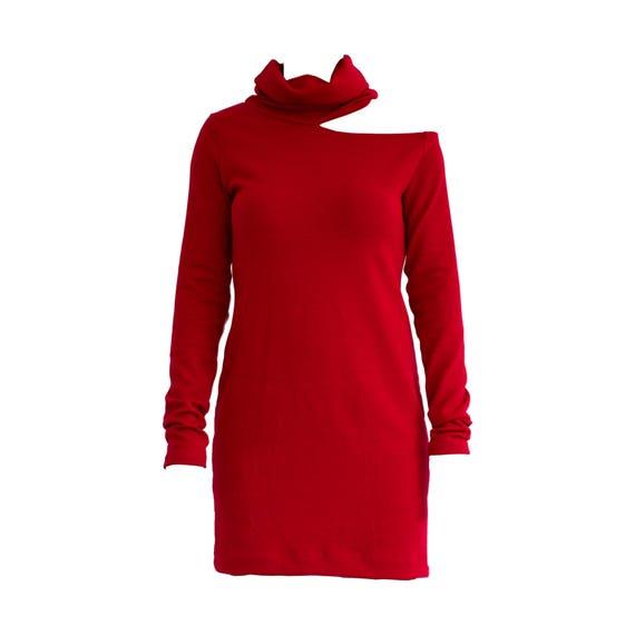 Red Sweater Dress Turtleneck Dress Winter Sweater Dress Long