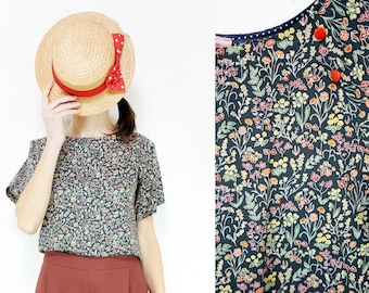 Handmade Liberty London Cotton Lawn black flowers Shirt Blouse [Julia's shirt/liberty]