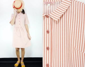 White/Pink Striped Cotton Collared Dress with Buttons+Belt [Nadine Dress/Salmon Cream]Small,Medium,Large