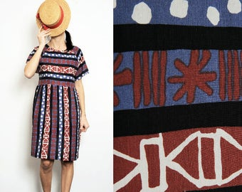 Abstract blue/purple/black Pure Cotton Smock Dress [Yoko dress /Abstract Blue]