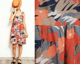 Coral Flowers cotton- linen Smock Summer Dress [Bianca dress/Coral flowers]