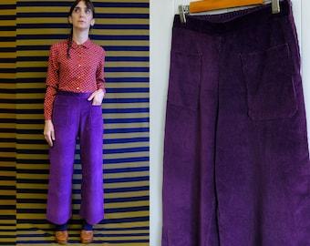 Handmade Vintage Corduroy Palazzo Trousers, front pockets Pants, Small, Medium, Large [Nevada Pants - Purple shade]