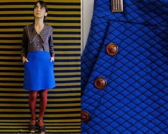 Electric blue matelassé pockets skirt elastic waist Woman Small Medium Large [Arizona skirt/electric blue]
