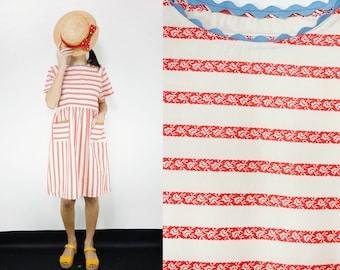 Pure Cotton Vintage Fabric White and Red Striped Print Smock Dress [Yoko dress/Tucson White]