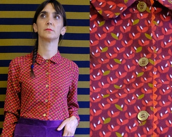 Handmade organic cotton collared blouse vintage fabric [Bronte blouse/burgundy leaves]