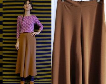 Handmade Vintage Viscose blend Palazzo Trousers, Small, Medium, Large  [Hilary Pants - Tobacco dance]