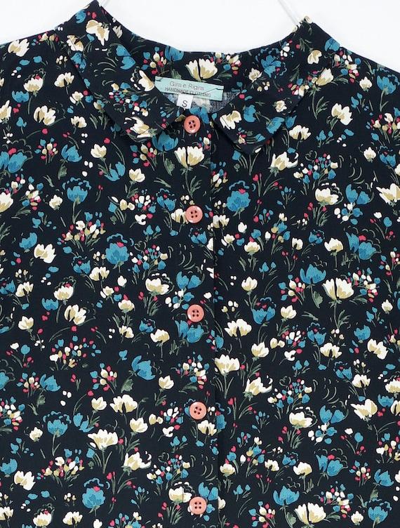 Cotton Viscose Medium Small with Large Multicolor Collared flowers Flowers Belt Black Buttons Dress Dress Nadine Black qEtxanx